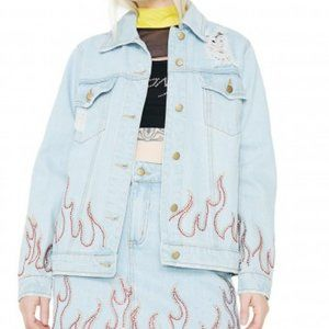 Honey Punch Flame Distressed Denim Jacket